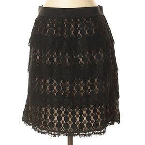 Ann Taylor Black Layered Lace Skirt w/Tan Lining